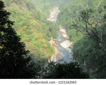 A hilly river goes through the forest of Vizag, India. Great Borra cave.