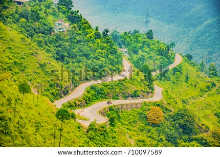 Hilly roads Mountains with cloudy sky  Pithoragarh Uttarakhand