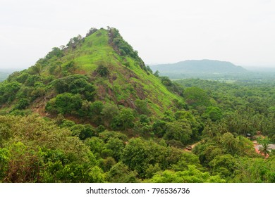 Hilly rural landscape view from the top of sacred Dambulla Golden Cave Temple on Sri Lanka island
