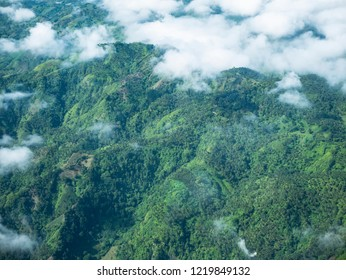 Hilly tropical landscape in the mountains of Mindanao, the southermost major island of the Philippines.