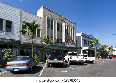 HILO, HAWAII - JANUARY 2, 2014: Architecture of Hilo, Hawaii captured on January 2, 2014.  Hilo features centuries-old wooden storefronts, many of which are on the National Register of Historic Places