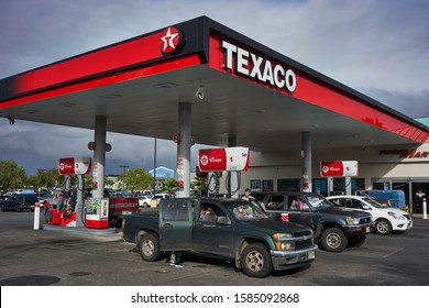 Hilo, Hawaii, USA - Dec 3, 2019: Texaco gas station in downtown Hilo on the Big Island.
