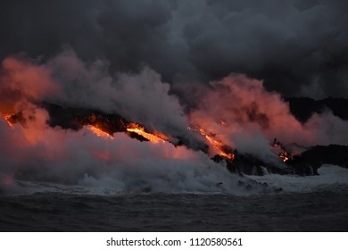 Hilo,Hawaii,USA. June 6, 2018. The latest lava flow from Kilauea Volcano,  Fissure 8 spilling molten lava into the Pacific Ocean and destroying the idyllic Kapoho Bay. More then 600 homes are gone.