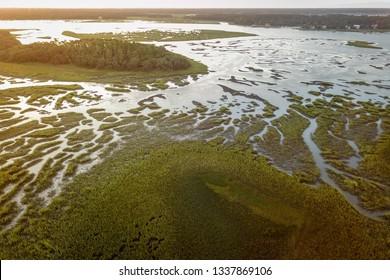 Hilton Head Island aerial view over the sea and salt marsh