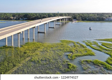 HILTON HEAD ISLAND, SC, USA - SEPTEMBER 2018: Aerial drone view over the bridge on the cross island parkway with marshland below
