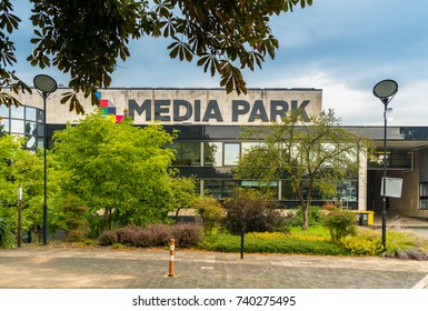 Hilversum, August 30th, 2017: main Building of the Media Park. Here the main part of Dutch television is beeing recorded and broadcasted