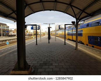 HILVERSUM, NETHERLANDS - 03 January 2019 View of railway station with building and other details
