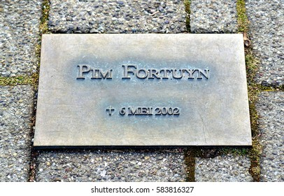 Hilversum , Netherlands - 18 / 02 / 2017 ; Plaque at the car park where Fortuyn was assassinated. Pim Fortuyn, a Dutch politician, was assassinatedon 6 May 2002 at the mediapark
