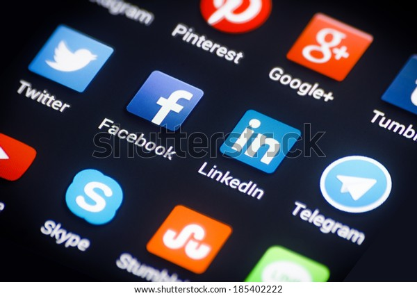 HILVERSUM, NETHERLANDS - APRIL 03, 2014: Social media are trending and both business as consumer are using it for information sharing and networking.