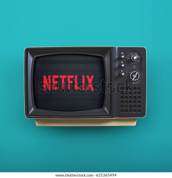 HILVERSUM, NETHERLANDS - April 21, 2017: Netflix, Inc. is an American provider of on-demand Internet streaming media available founded in 1997 by Marc Randolph and Reed Hastings