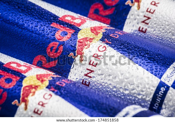 HILVERSUM, NETHERLANDS - FEBRUARY 04, 2014: Red Bull is an energy drink sold by Austrian company Red Bull GmbH, created in 1987. Red Bull is the most popular energy drink in the world.