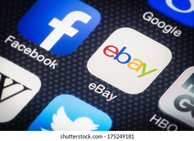 HILVERSUM, NETHERLANDS - FEBRUARY 06, 2014: eBay Inc. is an US multinational internet consumer-to-consumer corporation, headquartered in San Jose, California. It was founded by Pierre Omidyar in 1995
