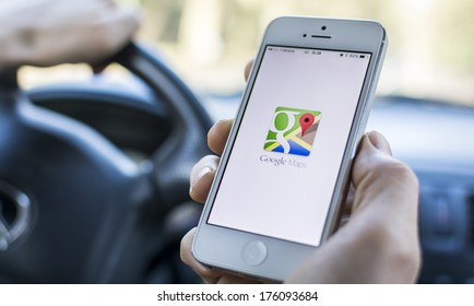 HILVERSUM, NETHERLANDS - FEBRUARY 06, 2014: Google Maps is a web mapping service application and technology provided by Google. Also available as a mobile app for smartphones.