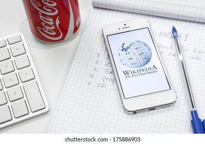 HILVERSUM, NETHERLANDS - FEBRUARY 10, 2014:  Wikipedia is a collaboratively edited, multilingual, free Internet encyclopedia that is supported by the non-profit Wikimedia Foundation.