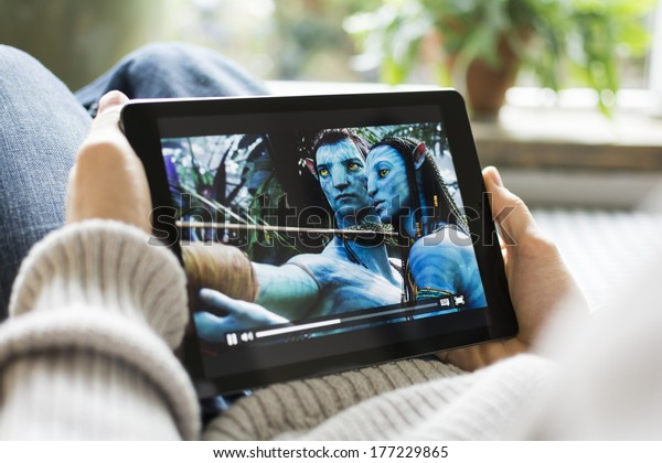 HILVERSUM, NETHERLANDS - FEBRUARY 14, 2014: Avatar is a 2009 epic science fiction action film directed, written, co-produced, and co-edited by James Cameron. The film is set in the mid-22nd century.