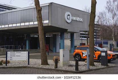 Hilversum, the Netherlands. February 2018. Entrance to the AVROTROS building, a Dutch radio and television broadcaster.