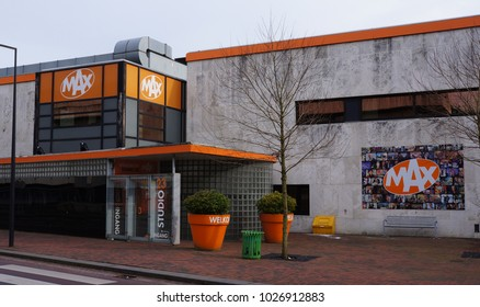 Hilversum, the Netherlands. February 2018. Entrance to the studio for Omroep MAX, a broadcaster in the Netherlands.