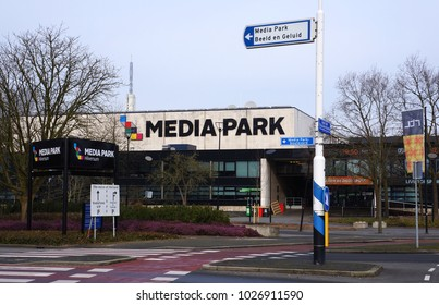Hilversum, the Netherlands. February 2018. Media Park in the Dutch city of Hilversum, home to a number of Dutch broadcasters and media companies, including the national public broadcasting system NPO.