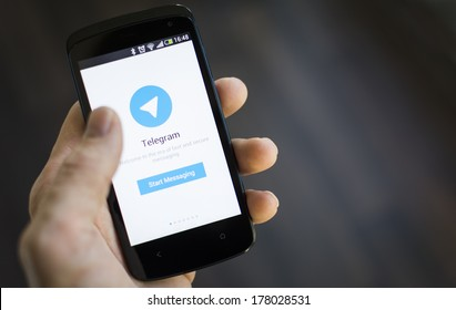 HILVERSUM, NETHERLANDS - FEBRUARY 21, 2014. Telegram Messenger is a free and partially open source cross-platform messenger with a focus on security founded in 2013 by brothers Nikolai and Pavel Durov