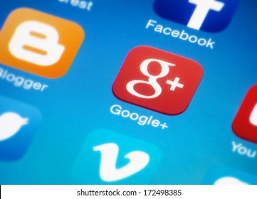 HILVERSUM, NETHERLANDS - JANUAR 03, 2014: Google plus is a social networking/identity service owned and operated by Google Inc. It is the 2nd-largest social networking site in the world after Facebook