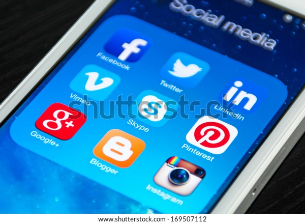 HILVERSUM, NETHERLANDS - JANUARY 03, 2014: Social media are trending and both business as consumer are using it for information sharing and networking.