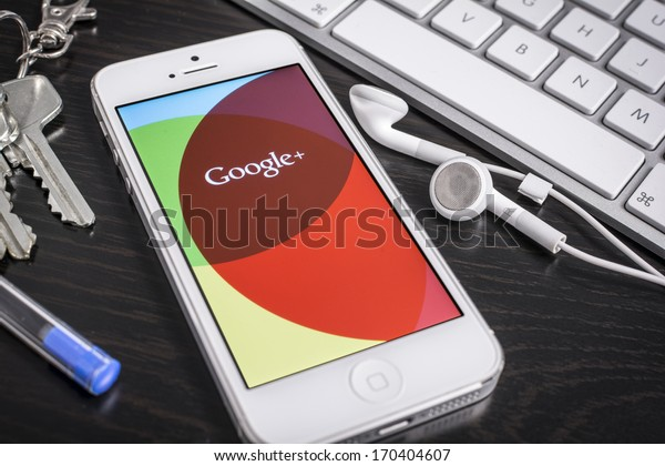 HILVERSUM, NETHERLANDS - JANUARY 08, 2014: Google+ is Google's social network service to compete with Facebook and launched in late June 2011