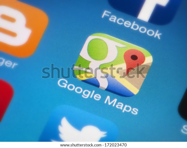 HILVERSUM, NETHERLANDS - JANUARY 18, 2014: On November 28, 2007, Google Maps for Mobile 2.0 was released. Its location service can work with or without a GPS receiver. Build for Android and iOS.