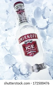 HILVERSUM, NETHERLANDS - JANUARY 19, 2014: Smirnoff is a brand of vodka owned and produced by the British company Diageo who distribute in 130 countries. Smirnoff ice is popular with young adults.