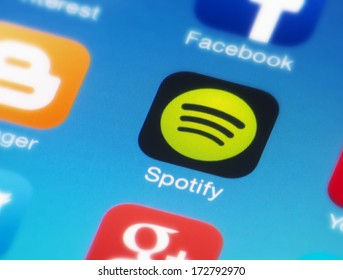 HILVERSUM, NETHERLANDS - JANUARY 23, 2014: Spotify is a commercial music streaming service providing digital rights management-restricted content from record labels like Sony, EMI, Warner Music a.o.