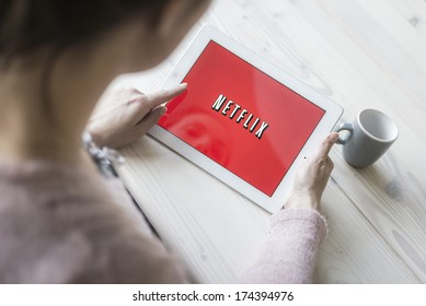 HILVERSUM, NETHERLANDS - JANUARY 31, 2014: Netflix, Inc. is an American provider of on-demand Internet streaming media available founded in 1997 by Marc Randolph and Reed Hastings