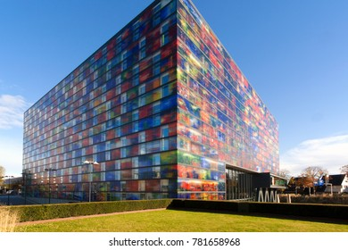 HILVERSUM, THE NETHERLANDS, MAY 2015. Exterior shot of the Netherlands Institute of Sound and Vision, the national archive and museum for sound and video productions.. Editorial use only.