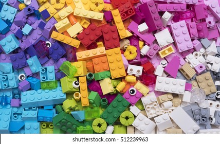Hilversum, The Netherlands - November 8, 2016: Lego blocks - plastic construction toy -manufactured by The Lego Group based in Billund, Denmark - illustrative editorial