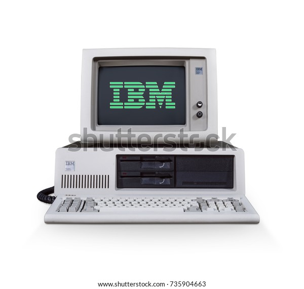 HILVERSUM, NETHERLANDS - October 14, 2017: The IBM 5160 is a version of the IBM PC with a built-in hard drive. Released on March 8, 1983. The 5100 series are knowns as one of the first home computers.