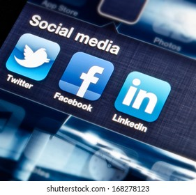 HILVERSUM, NETHERLANDS - SEPTEMBER 18, 2012: social media are trending and both business as consumer are using it for information sharing and networking.