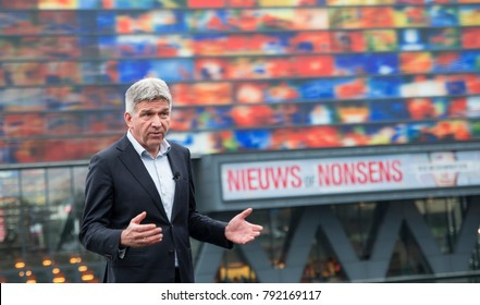 HILVERSUM,HOLLAND,10-01-2018: Wimar Jaeger the loco mayor of Hilversum interview for the dutch television, Wimar Jaeger is responsable for the media activities in Hilversum