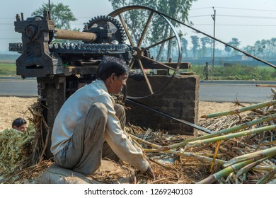 HIMACHAL PRADESH, INDIA,10-29-2015. Worker in front of a squeezing machine for sugar cane
