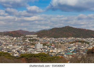 Himaji cityscape downtown with mountain background, Japan