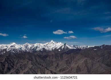 Himalaya mountain and blue sky landscape.