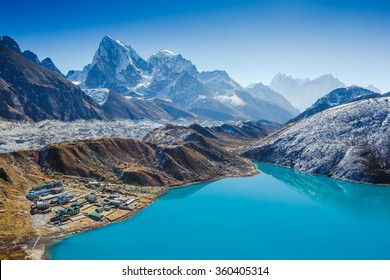 Himalaya Mountain landscape. View from Gokyo Ri, 5360 meters up in the Himalaya Mountains of Nepal