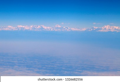 Himalaya mountains from the airplane