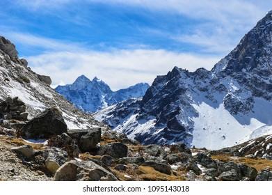 Himalaya mountains area near Everest base camp