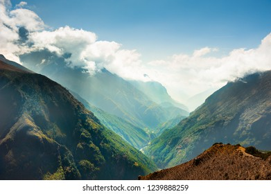 Himalaya mountains with green trees in Nepal. Everest Base Camp trek, Sagarmatha national park