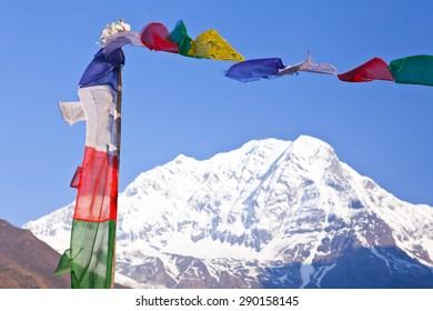 Himalaya mountains - peak. Close view top of the mountain Manaslu