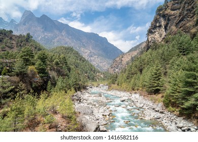 Himalaya mountains and river in the morning, everest trek in nepal