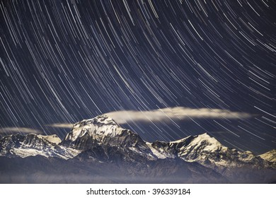 Himalaya Mountains with Startrail View from Poon Hill