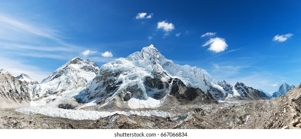 himalaya, panoramic view of himalayas mountain, Mount Everest with beautiful sky and Khumbu Glacier - way to Everest base camp, Khumbu valley, Sagarmatha national park, Nepalese himalayas