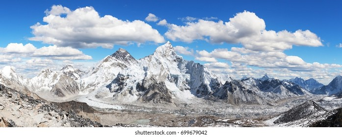 himalaya, panoramic view of himalayas mountain, Mount Everest with beautiful sky and Khumbu Glacier - way to Everest base camp, Khumbu valley, Sagarmatha national park, Nepalese himalayas