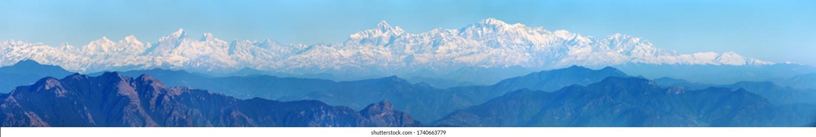 Himalaya, panoramic view of Indian Himalayas, great Himalayan range, Uttarakhand India, view from Mussoorie road, mount Nanda Devi