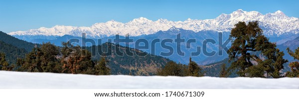 Himalaya, panoramic view of Indian Himalayas, great Himalayan range, Uttarakhand India, view from Mussoorie road