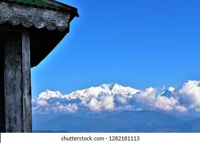 Himalaya range kanchamy mount Everest image taken from on the way to sandakphu near Tumling.
